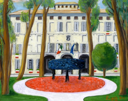 castelnovo di sotto,municipio castelnovo sotto,festeggiamenti 150°, rusp@pittore,ruspapittore,reggio emilia,tricolore,bandiera italiana,